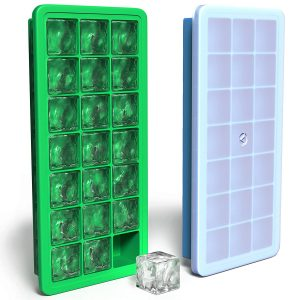 Vremi Silicone Ice Cube Trays with Plastic Lids
