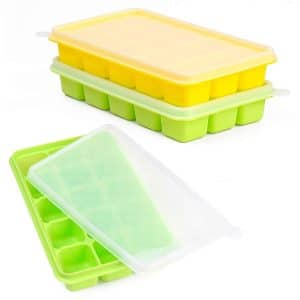 Ice Cube Trays CASELAND Easy Release 2 Pack Silicone
