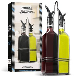 Zeppoli Oil and Vinegar Bottle Set with Stainless Steel Rack